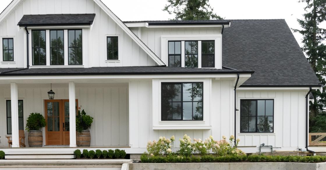 Modern farmhouse with black window frames