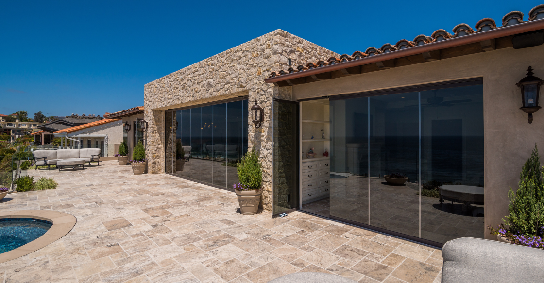 house with Low-e frameless glass system