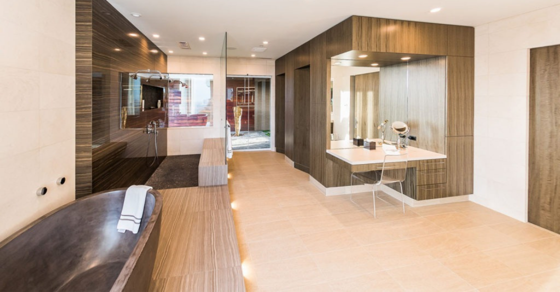 luxury bathroom enhanced by frameless glass walls