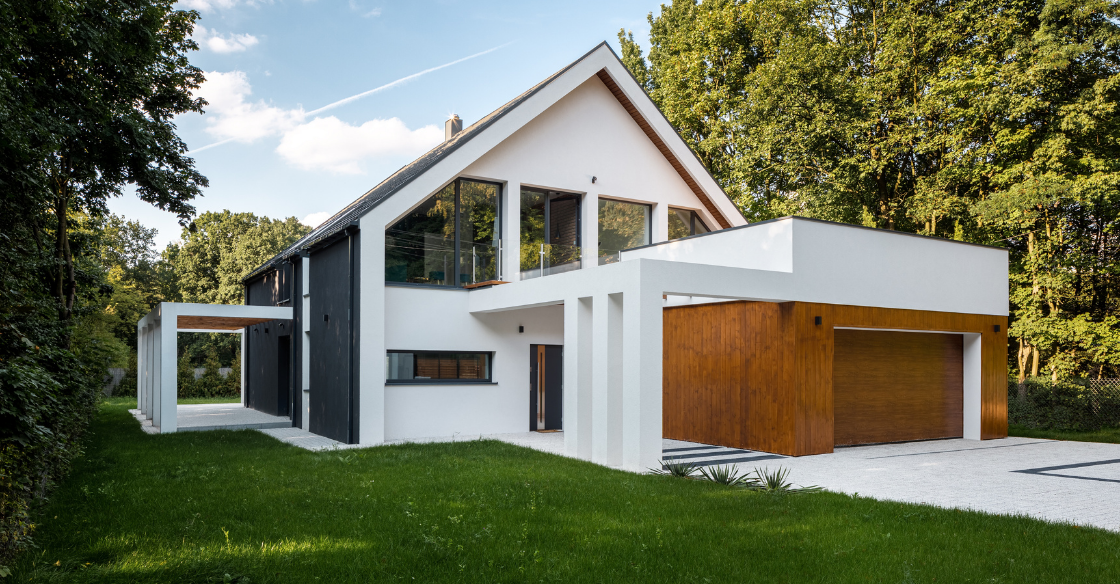 Modern house with brand new garage door