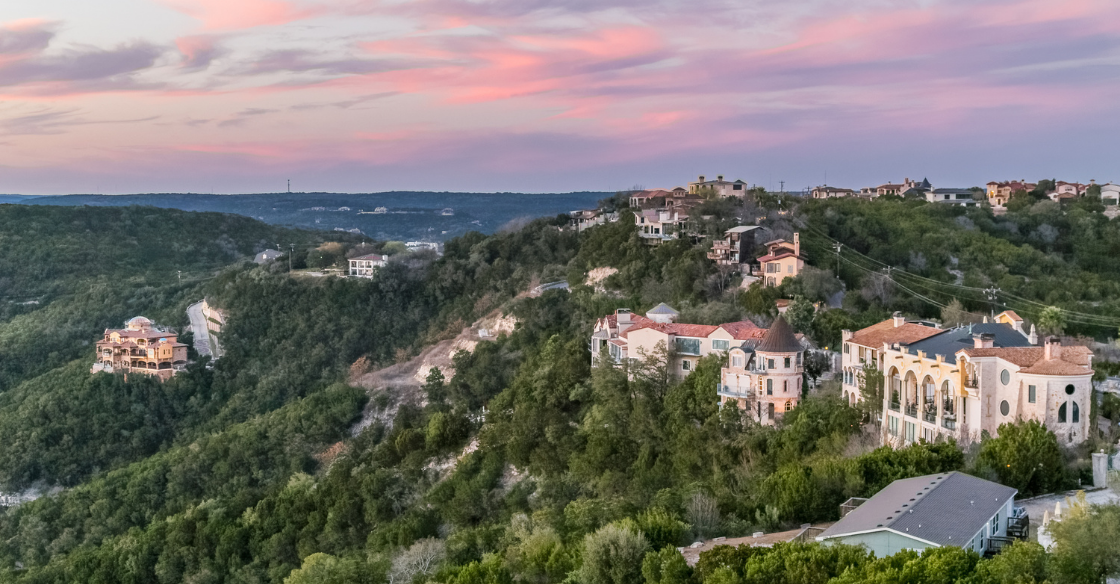 Views from houses on Lake Travis, in Austin, Texas