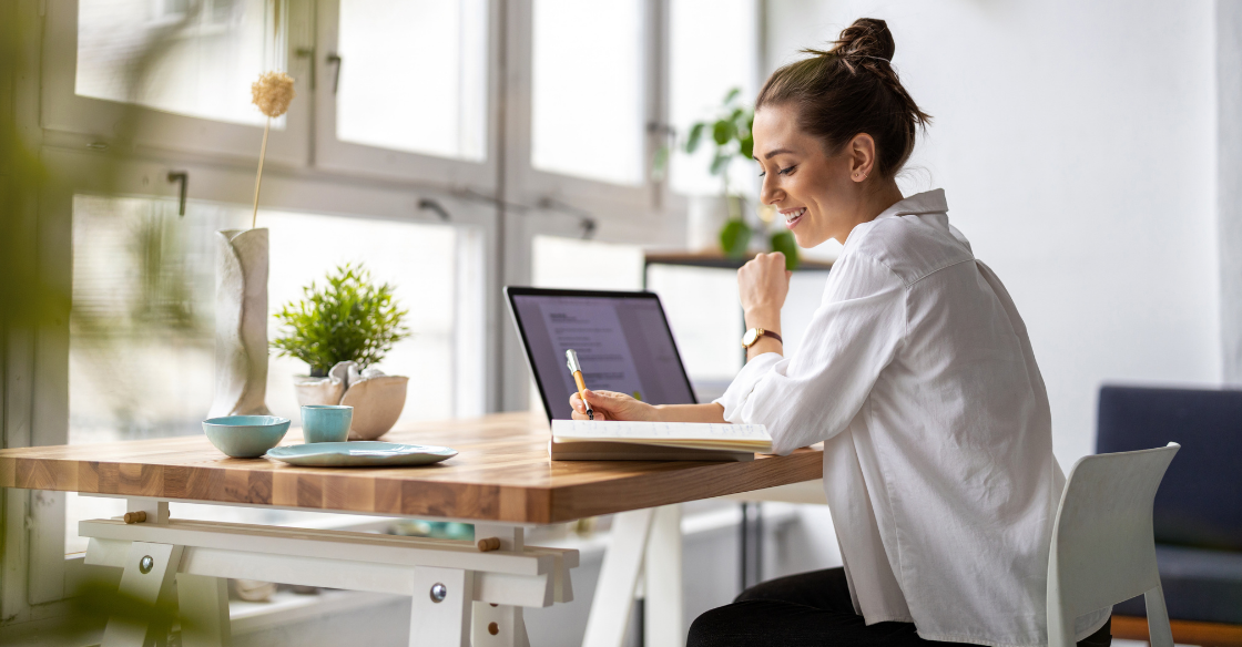 woman working remotely at her desk