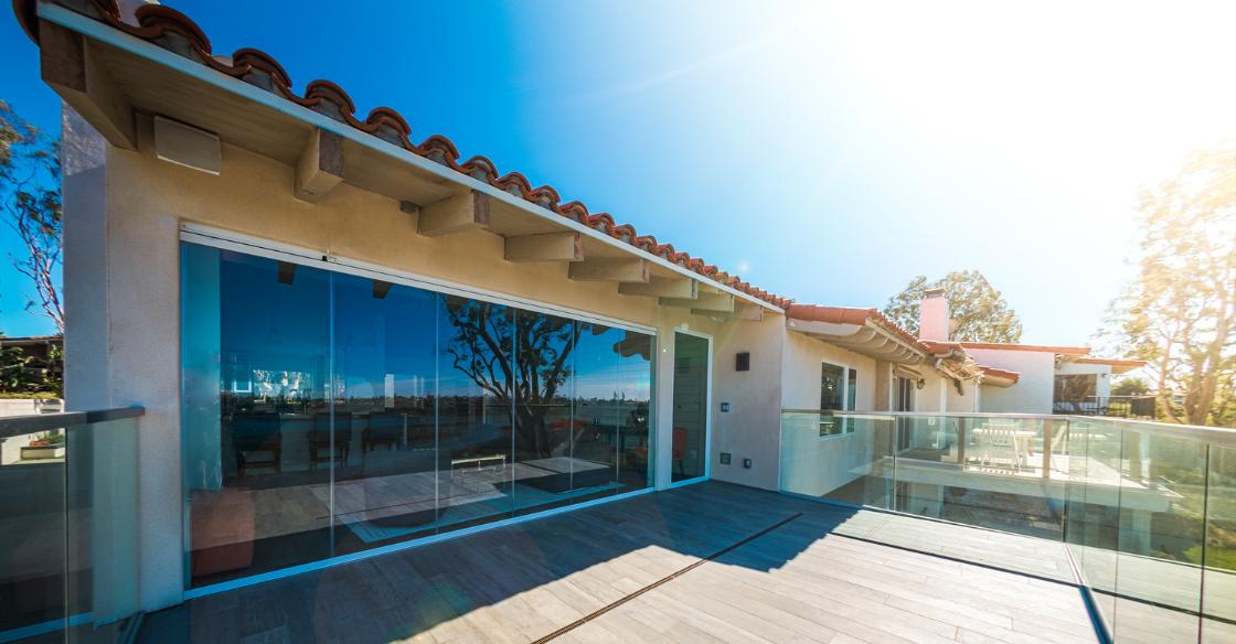 Low-e coated frameless glass patio doors