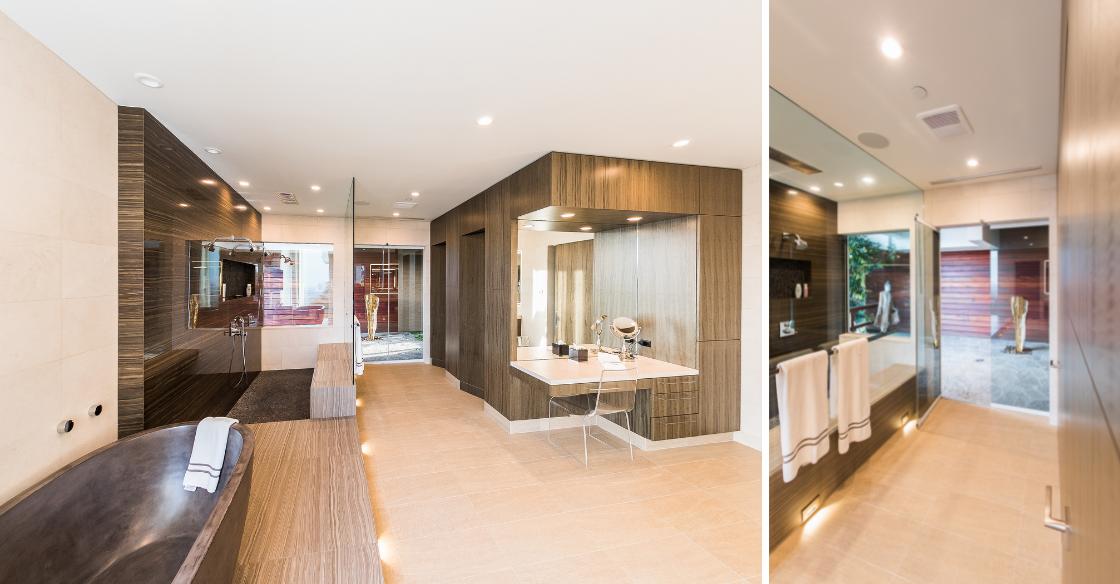 Modern bathroom designed using frameless glass panels