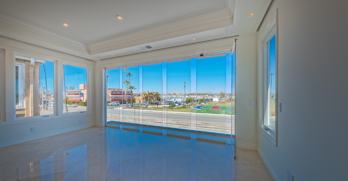 Cover Glass panels partially open in a home