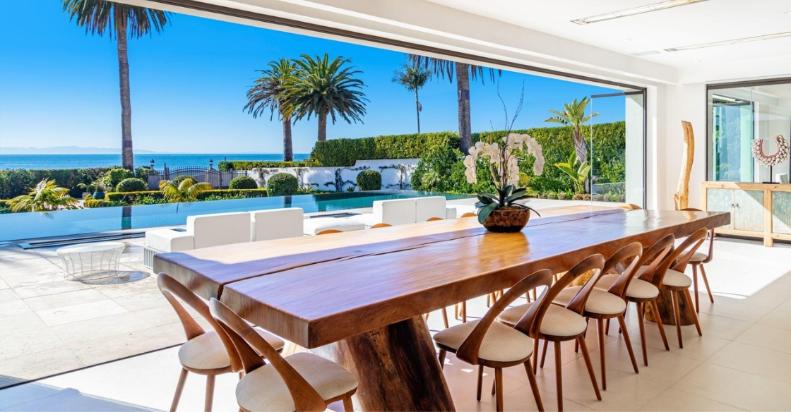 View from dining room with frameless glass doors