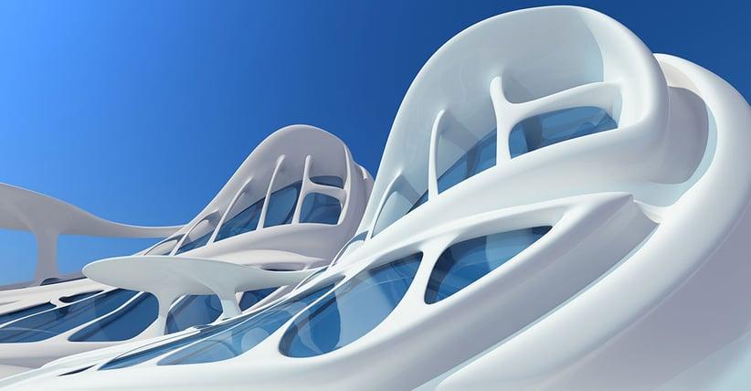White building with unique architecture