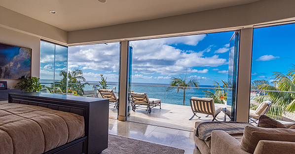 ocean view bedroom frameless glass