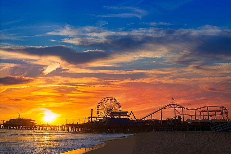 Santa Monica Pier Sunset | Cover Glass USA | Frameless Sliding Glass Panels