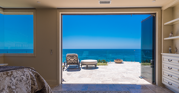 oceanfront view sliding glass doors