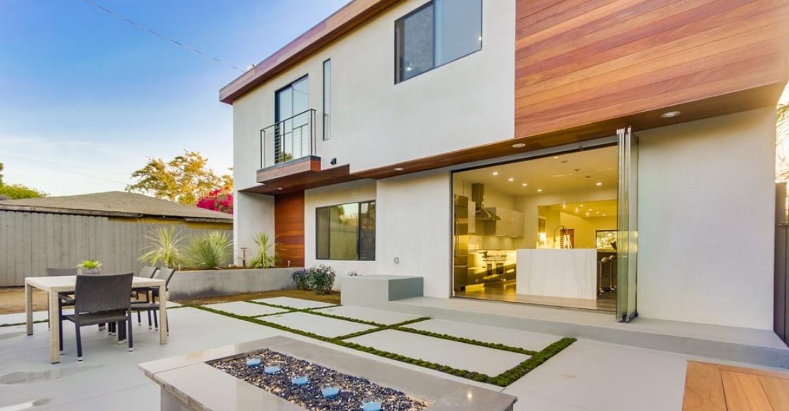 Frameless glass doors on a modern style home