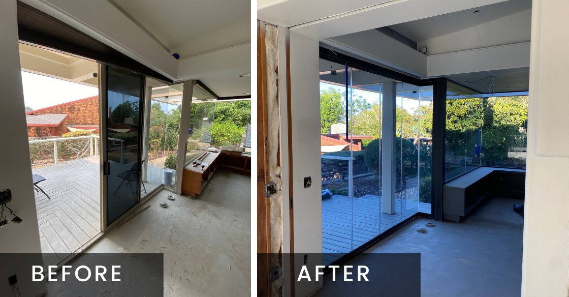 Office door before and after using Cover Glass