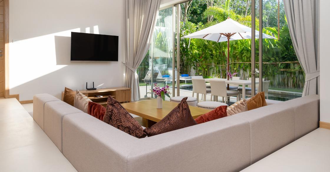 Living room with big, open patio doors